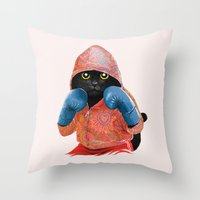 boxing Throw Pillows featuring Boxing Cat 2  by Tummeow