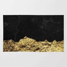 Rough Gold Torn and Black Marble Rug