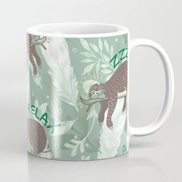 Lazy Boho Sloth On green Background Coffee Mug