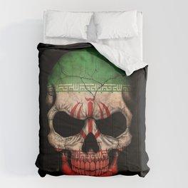 Dark Skull with Flag of Iran Comforters