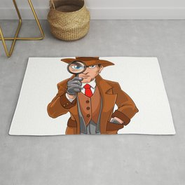 detective looking through magnifying glass Rug