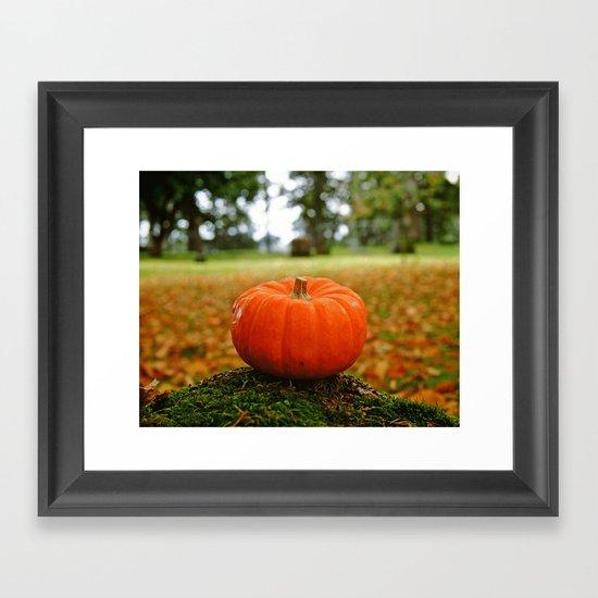 Cemetery pumpkin Framed Art Print