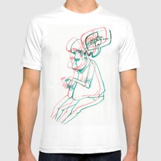 empty MEDIUM White Mens Fitted Tee