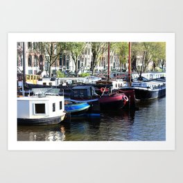 Amsterdam Houseboats Art Print