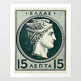 Vintage Greek Postage Art Print