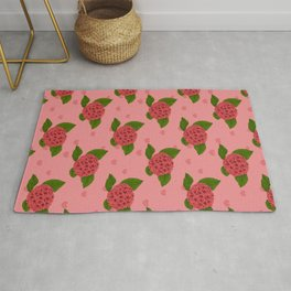 Coral Vintage Floral Illustration Of Hydrangea Flowers And Hearts Rug