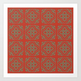 OrangeGreen Tile Art Print
