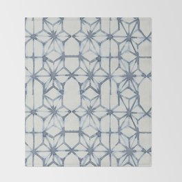 Simply Shibori Stars in Indigo Blue on Lunar Gray Throw Blanket
