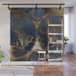 World Map Deep Blue and Gold Wall Mural