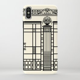 ART DECO, ART NOUVEAU IRONWORK: Black and Cream iPhone Case