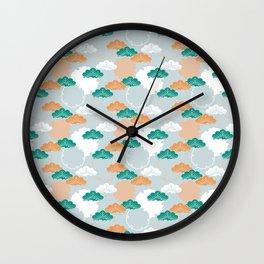 Pine Snowflake Japanese Kimono Pattern Wall Clock