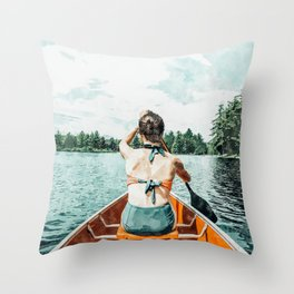 Row Your Own Boat #illustration #decor #painting Throw Pillow