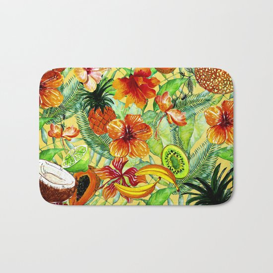 My tropical Summer Hibiscus and Fruits Garden- Jungle Pattern on #Society6 Bath Mat