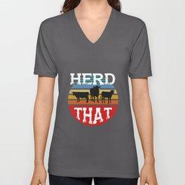 Funny Cattle Farmer Herd That Cow Farming Lover  Unisex V-Neck