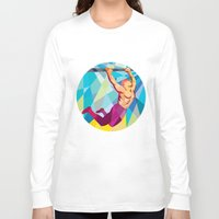 crossfit Long Sleeve T-shirts featuring Crossfit Pull Up Bar Circle Low Polygon by patrimonio