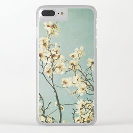 Magnolia blossoms. Mint Clear iPhone Case