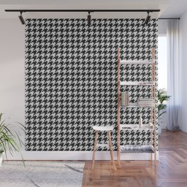 Friendly Houndstooth Pattern, black and white Wall Mural