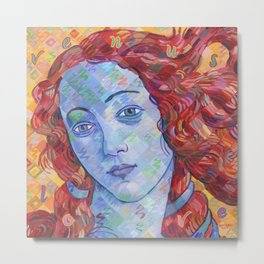 Variations On Botticelli's Venus - No. 3 (Primary Colors) Metal Print