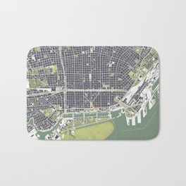 Buenos aires city map engraving Bath Mat