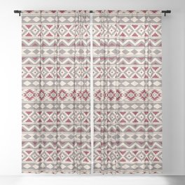 Aztec Essence Ptn IIIb Red Cream Taupe Sheer Curtain