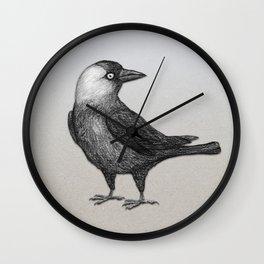 Western jackdaw pencildrawing Wall Clock