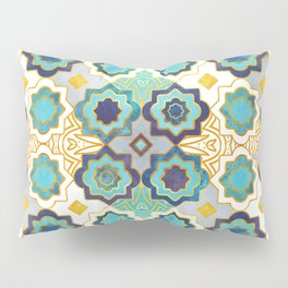 Marrakesh gold and blue geometry inspiration Pillow Sham