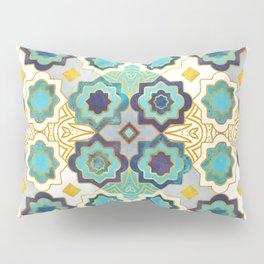 Marrakesh gold and blue geometry inspiration Pillow Sham
