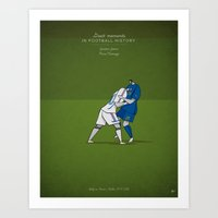 zidane Art Prints featuring Zinedine Zidane by Osvaldo Casanova