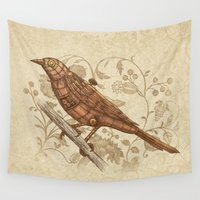 steampunk Wall Tapestries featuring Steampunk Songbird  by Terry Fan