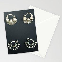 Mogolian silver earrings Stationery Cards