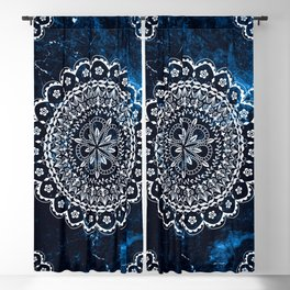 Moroccan Mandala on blue ink Blackout Curtain