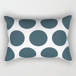 Large Polka Dots: Dark Blue Rectangular Pillow