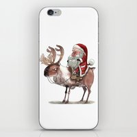 bouletcorp iPhone & iPod Skins featuring Père Noël Énervé / Angry Santa by Bouletcorp