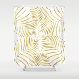 Palm Leaves in Golden Yellow Pattern Shower Curtain