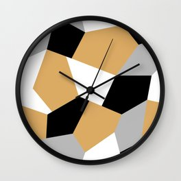 Gold, black, white and grey mosaic seamless pattern Wall Clock