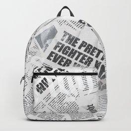 Prettiest Fighter Newsprint Backpack