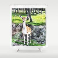 bambi Shower Curtains featuring Bambi by The Miniatures