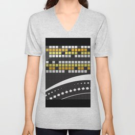 Abstract Crossword Puzzle Squares on Black Unisex V-Neck