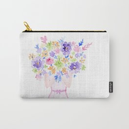 GIRL HOLDING BOUQUET OF FLOWERS / THANK YOU / CONGRATULATIONS / BIRTHDAY Carry-All Pouch
