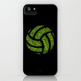 Lime Green Volleyball Wordcloud - Gift iPhone Case
