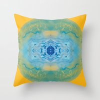 sonic Throw Pillows featuring Sonic Mandala by katy zimmerman