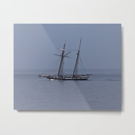 Tall ship in the fog Metal Print