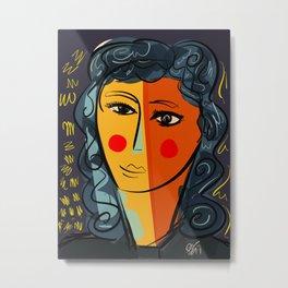Portrait of a cubist pop beautiful girl Metal Print