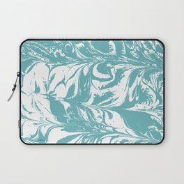 Japanese paper marbling suminiagashi pastel turquoise light blue ocean topography swirl marble Laptop Sleeve