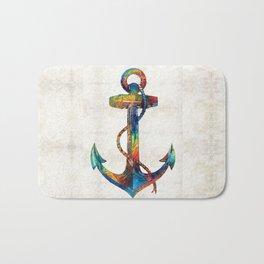 Nautical Anchor Art - Anchors Aweigh - By Sharon Cummings Bath Mat