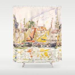 """Paul Signac """"Le Pouliguen Fishing Boats"""" Shower Curtain"""