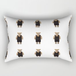 Teddy Bear with a Black Jumpsuit Rectangular Pillow