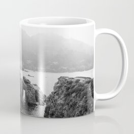 Ocean Arches | Black and White Nature Landscape Photography in California Coffee Mug