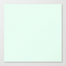 Mini Pale Summer Mint Green Pastel and White Candy Cane Stripes Canvas Print
