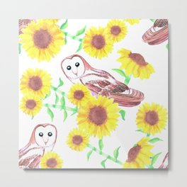 Barn owls and Sunflowers watercolor art Metal Print